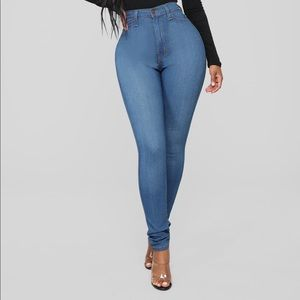 Classic High Waist Skinny Jeans- Medium Blue Wash